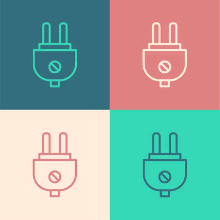 White Electric plug icon isolated on black background. Concept of connection and disconnection of the electricity. Vector