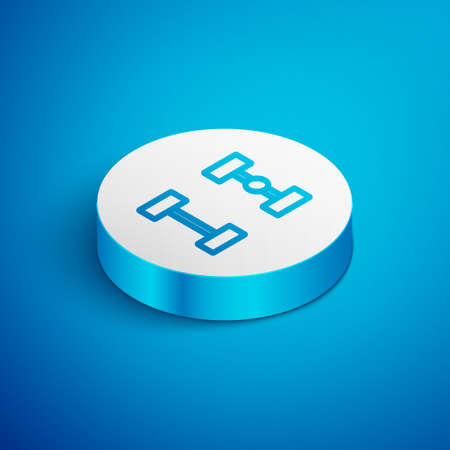 Isometric line Chassis car icon isolated on blue background. White circle button. Vector Illusztráció