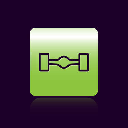 Black line Chassis car icon isolated on black background. Green square button. Vector
