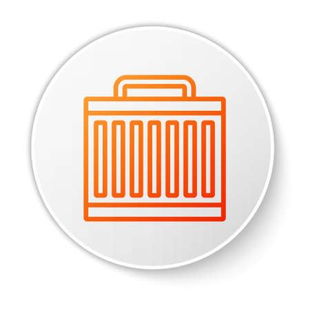 Orange line Car radiator cooling system icon isolated on white background. White circle button. Vector