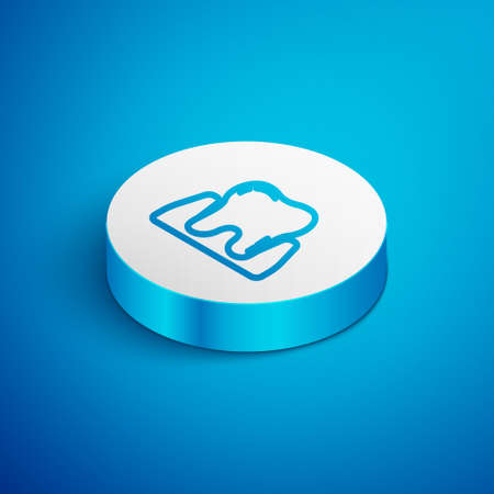 Isometric line Tooth icon isolated on blue background. Tooth symbol for dentistry clinic or dentist medical center and toothpaste package. White circle button. Vector  イラスト・ベクター素材