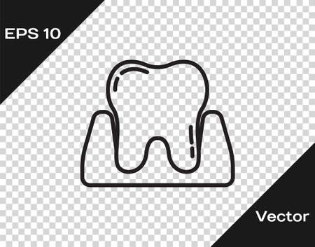 Black line Tooth icon isolated on transparent background. Tooth symbol for dentistry clinic or dentist medical center and toothpaste package. Vector