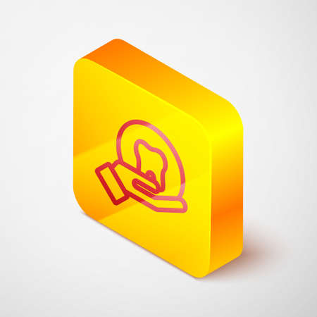 Isometric line Tooth icon isolated on grey background. Tooth symbol for dentistry clinic or dentist medical center and toothpaste package. Yellow square button. Vector
