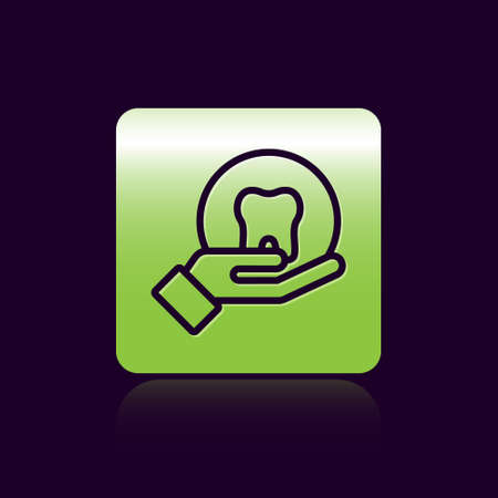 Black line Tooth icon isolated on black background. Tooth symbol for dentistry clinic or dentist medical center and toothpaste package. Green square button. Vector