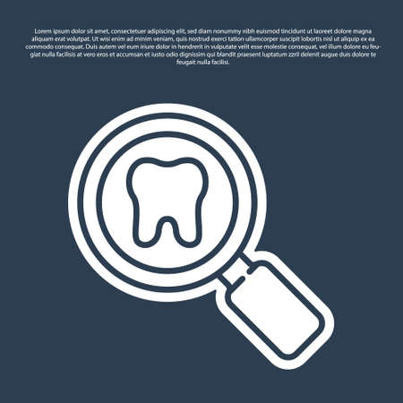 Blue line Dental search icon isolated on blue background. Tooth symbol for dentistry clinic or dentist medical center. Vector