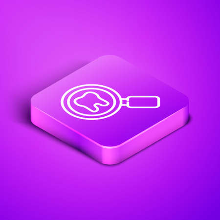 Isometric line Dental search icon isolated on purple background. Tooth symbol for dentistry clinic or dentist medical center. Purple square button. Vector