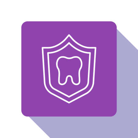 White line Dental protection icon isolated on white background. Tooth on shield. Purple square button. Vector