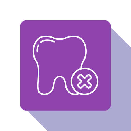 White line Tooth with caries icon isolated on white background. Tooth decay. Purple square button. Vector  イラスト・ベクター素材
