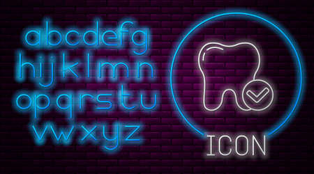 Glowing neon line Tooth whitening concept icon isolated on brick wall background. Tooth symbol for dentistry clinic or dentist medical center. Neon light alphabet. Vector