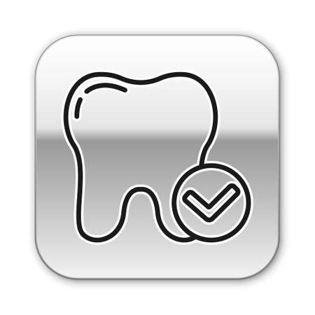Black line Tooth whitening concept icon isolated on white background. Tooth symbol for dentistry clinic or dentist medical center. Silver square button. Vector