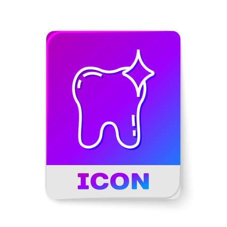 White line Tooth whitening concept icon isolated on white background. Tooth symbol for dentistry clinic or dentist medical center. Rectangle color button. Vector