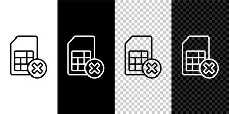 Set line Sim card rejected icon isolated on black and white background. Mobile cellular phone sim card chip. Mobile telecommunications technology symbol. Vector