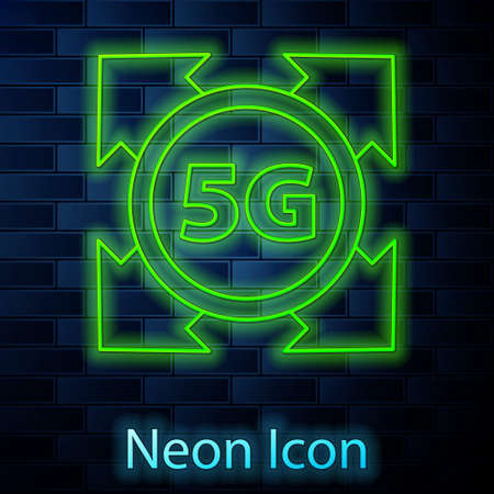 Glowing neon line 5G new wireless internet wifi connection icon isolated on brick wall background. Global network high speed connection data rate technology. Vector
