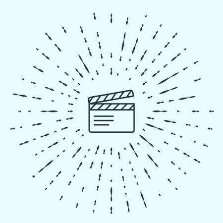 Black line Movie clapper icon isolated on grey background. Film clapper board. Clapperboard sign. Cinema production or media industry. Abstract circle random dots. Vector  イラスト・ベクター素材