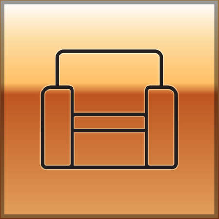 Black line Cinema chair icon isolated on gold background. Vector Ilustração