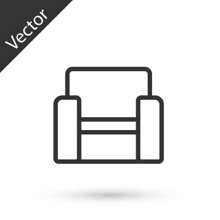 Grey line Cinema chair icon isolated on white background. Vector