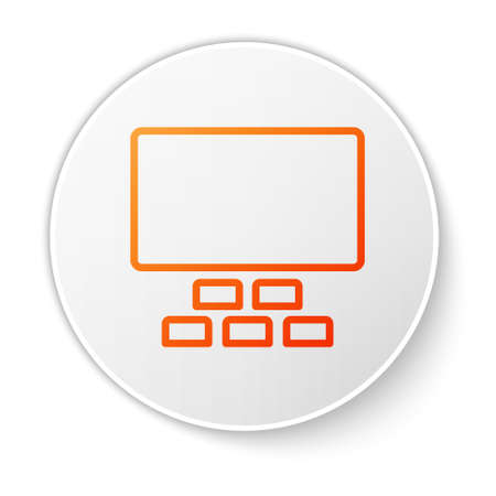 Orange line Cinema auditorium with screen and seats icon isolated on white background. White circle button. Vector