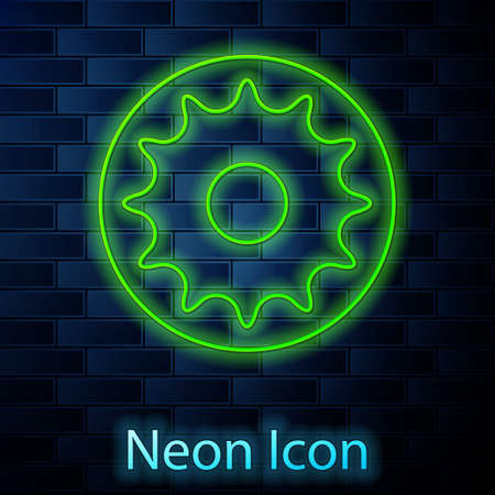 Glowing neon line Chakra icon isolated on brick wall background. Vector