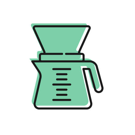 Black line Coffeemaker icon isolated on white background. Alternative methods of brewing coffee. Coffee culture. Vector