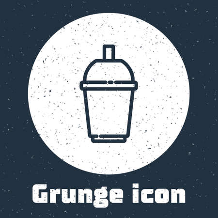 Grunge line Coffee cup to go icon isolated on grey background. Monochrome vintage drawing. Vector