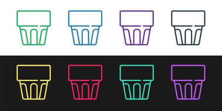 Set line Glass with water icon isolated on black and white background. Soda drink glass. Fresh cold beverage symbol. Vector
