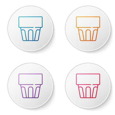 Color line Glass with water icon isolated on white background. Soda drink glass. Fresh cold beverage symbol. Set icons in circle buttons. Vector