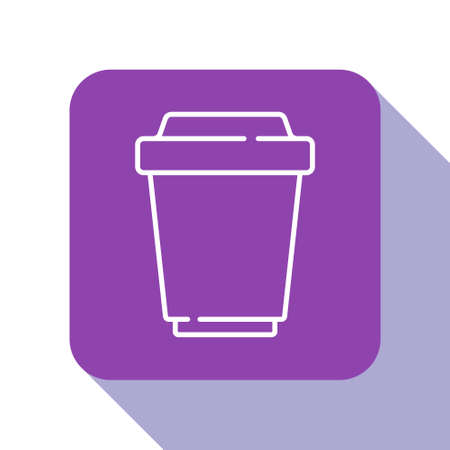 White line Coffee cup to go icon isolated on white background. Purple square button. Vector Иллюстрация