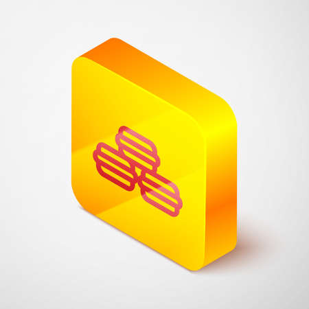 Isometric line Macaron cookie icon isolated on grey background. Macaroon sweet bakery. Yellow square button. Vector
