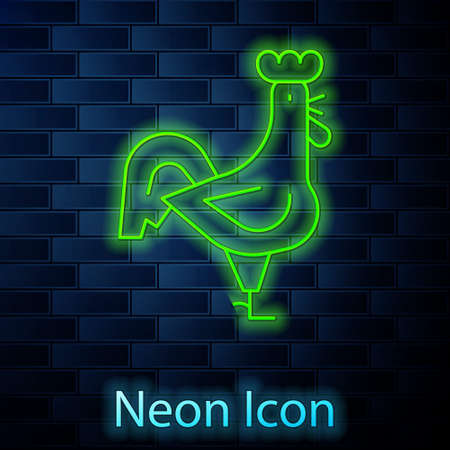 Glowing neon line French rooster icon isolated on brick wall background. Vector