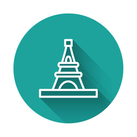 White line Eiffel tower icon isolated with long shadow. France Paris landmark symbol. Green circle button. Vector 向量圖像