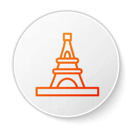 Orange line Eiffel tower icon isolated on white background. France Paris landmark symbol. White circle button. Vector