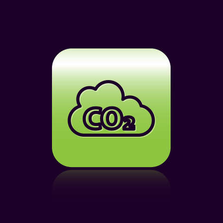 Black line CO2 emissions in cloud icon isolated on black background. Carbon dioxide formula, smog pollution concept, environment concept. Green square button. Vector