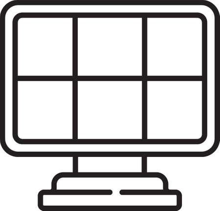 Black line Solar energy panel icon isolated on white background. Vector Vettoriali
