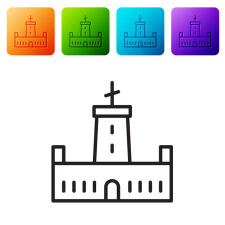 Black line Montjuic castle icon isolated on white background. Barcelona, Spain. Set icons in color square buttons. Vector