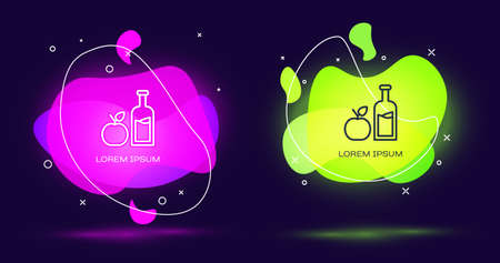 Line Apple cider bottle icon isolated on black background. Beverage glass bottle. Abstract banner with liquid shapes. Vector