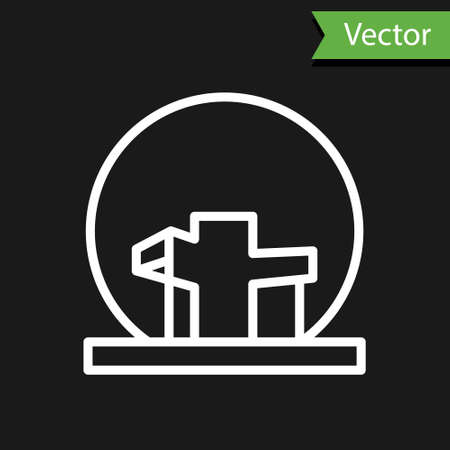 White line Montreal Biosphere icon isolated on black background. Vector Illustration