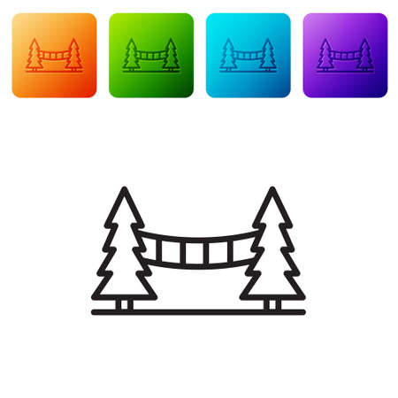 Black line Capilano Suspension Bridge in Vancouver, Canada icon isolated on white background. Set icons in color square buttons. Vector