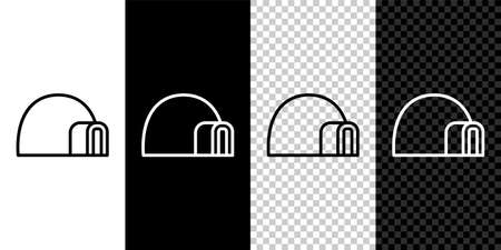Set line Igloo ice house icon isolated on black and white background. Snow home, Eskimo dome-shaped hut winter shelter, made of blocks. Vector
