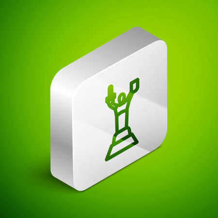 Isometric line Mother Motherland monument in Kiev, Ukraine icon isolated on green background. Silver square button. Vector 向量圖像