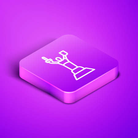 Isometric line Mother Motherland monument in Kiev, Ukraine icon isolated on purple background. Purple square button. Vector