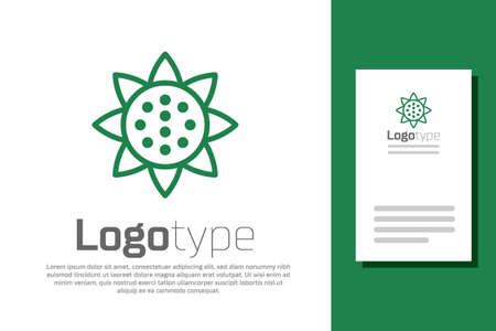 Green line Sunflower icon isolated on white background. Logo design template element. Vector Vettoriali