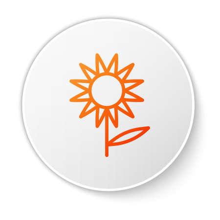 Orange line Sunflower icon isolated on white background. White circle button. Vector Vettoriali