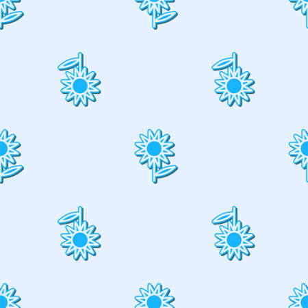 Blue line Sunflower icon isolated seamless pattern on grey background. Vector