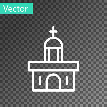 White line Church building icon isolated on transparent background. Christian Church. Religion of church. Vector