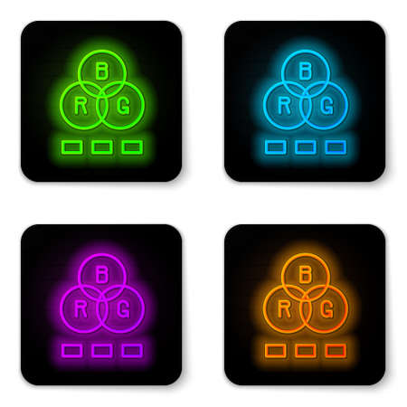 Glowing neon line RGB color mixing icon isolated on white background. Black square button. Vector