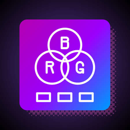 White line RGB color mixing icon isolated on black background. Square color button. Vector 向量圖像