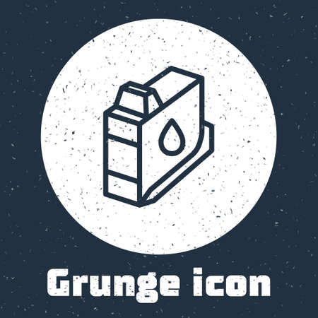 Grunge line Printer ink cartridge icon isolated on grey background. Monochrome vintage drawing. Vector 向量圖像