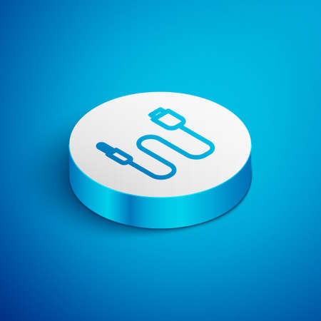Isometric line Audio jack icon isolated on blue background. Audio cable for connection sound equipment. Plug wire. Musical instrument. White circle button. Vector