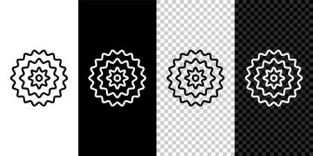 Set line Bicycle cassette mountain bike icon isolated on black and white background. Rear Bicycle Sprocket. Chainring crankset with chain. Vector