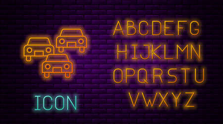 Glowing neon line Traffic jam on the road icon isolated on brick wall background. Road transport. Neon light alphabet. Vector Ilustração